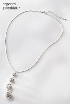 Collier pendentif boules strass