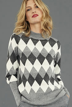 Pull maille jacquard col montant